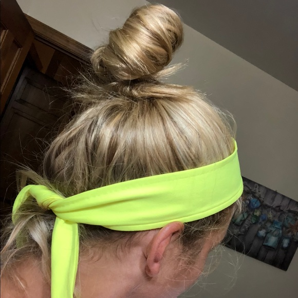 Neon yellow Nike tie headband. M 5b1dd95c1b32948de6952f28 c5c1ca7af21